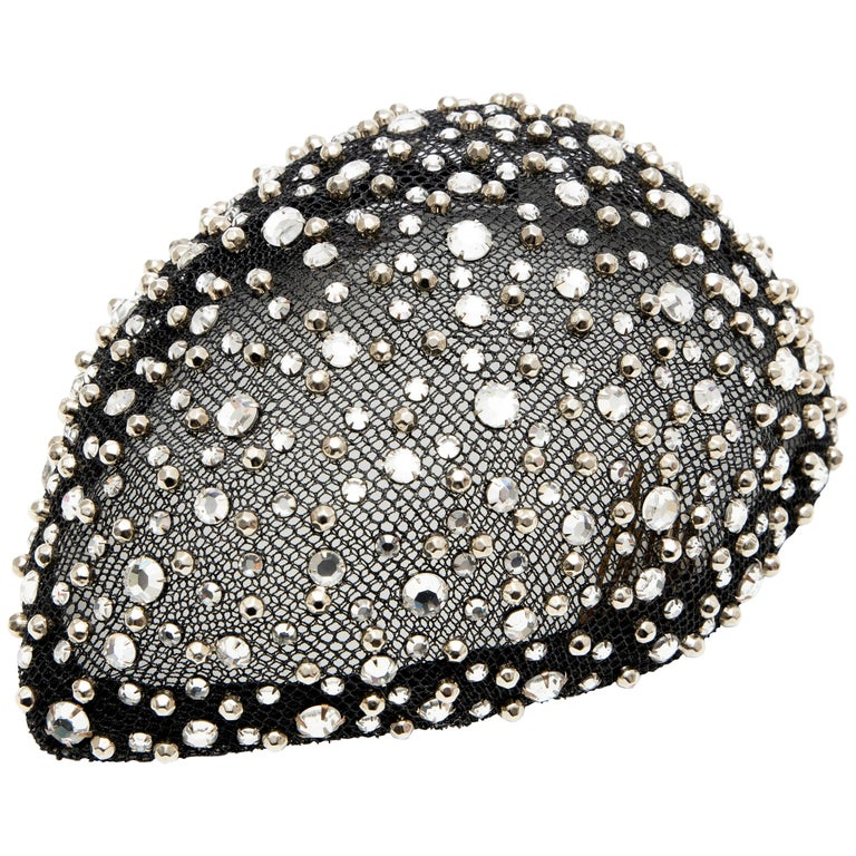 Frank Olive Black Mesh Skull Cap Prong Set Swarovski Crystals, Circa: 1950's For Sale