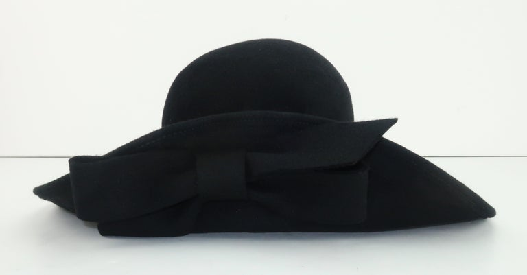 Frank Olive Black Wool Wide Brim Hat With Bow, 1980's For Sale 6