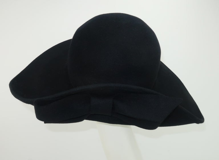 Women's Frank Olive Black Wool Wide Brim Hat With Bow, 1980's For Sale
