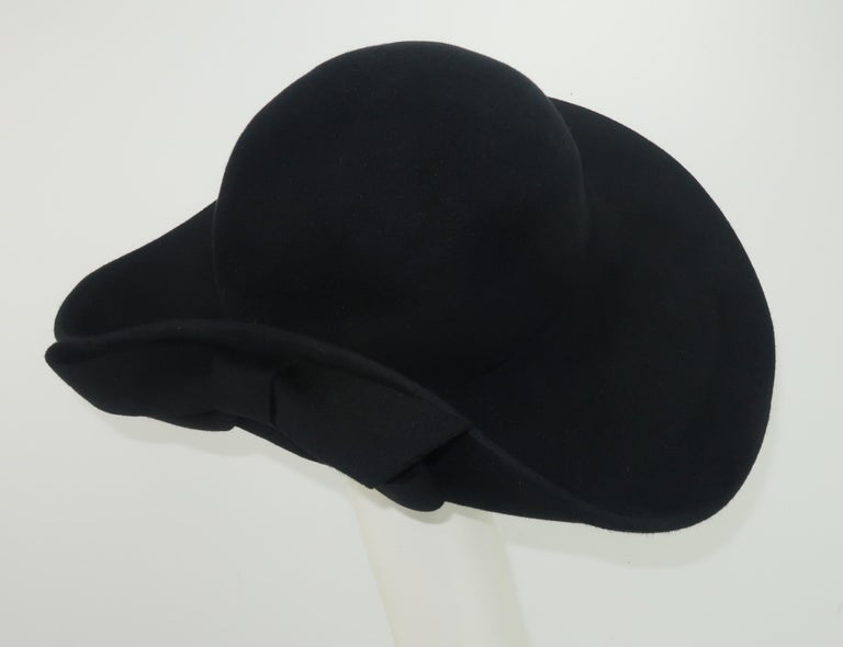 Frank Olive Black Wool Wide Brim Hat With Bow, 1980's For Sale 1