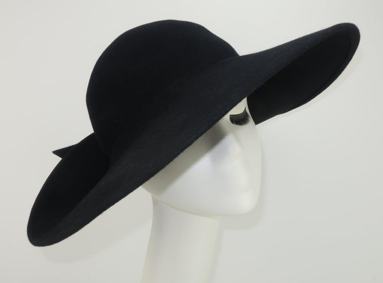 Frank Olive Black Wool Wide Brim Hat With Bow, 1980's For Sale 3