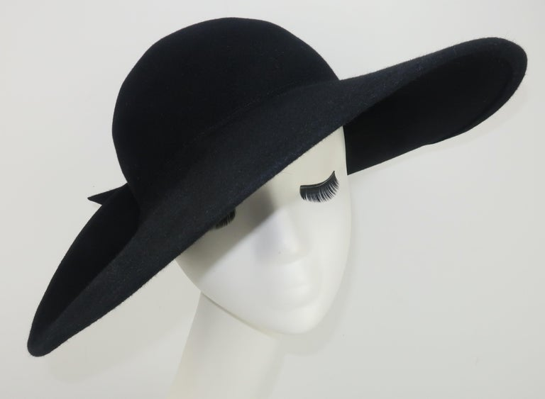 Frank Olive Black Wool Wide Brim Hat With Bow, 1980's For Sale 4