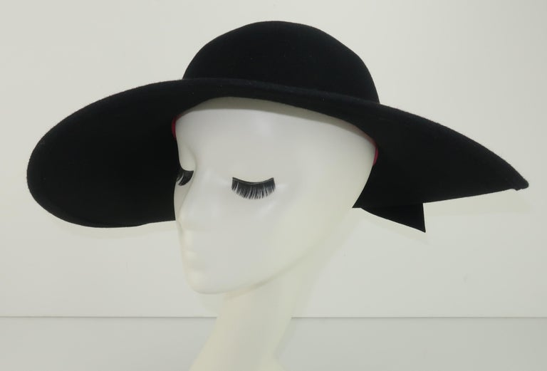 Frank Olive Black Wool Wide Brim Hat With Bow, 1980's For Sale 5