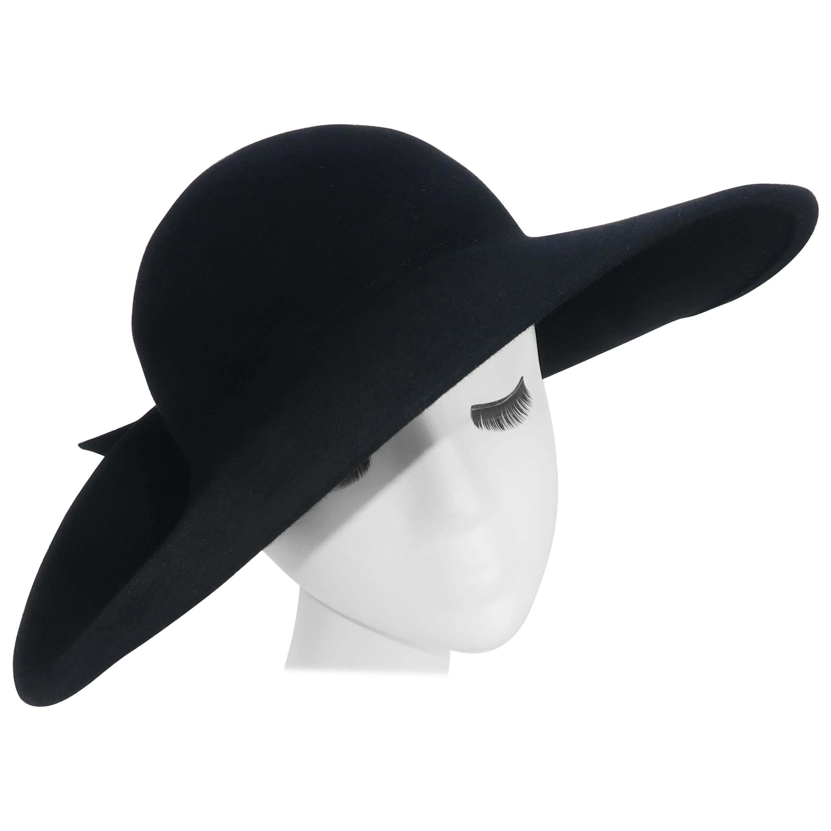 Frank Olive Black Wool Wide Brim Hat With Bow, 1980's