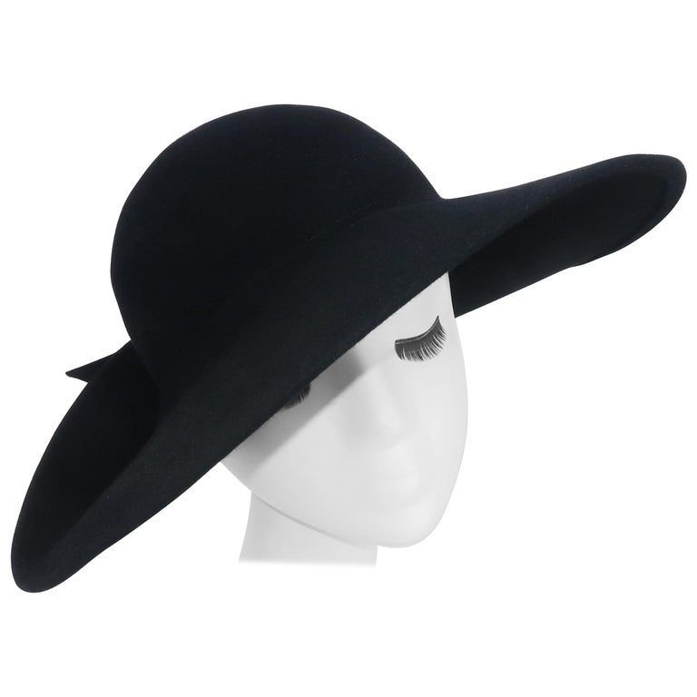 Frank Olive Black Wool Wide Brim Hat With Bow, 1980's For Sale