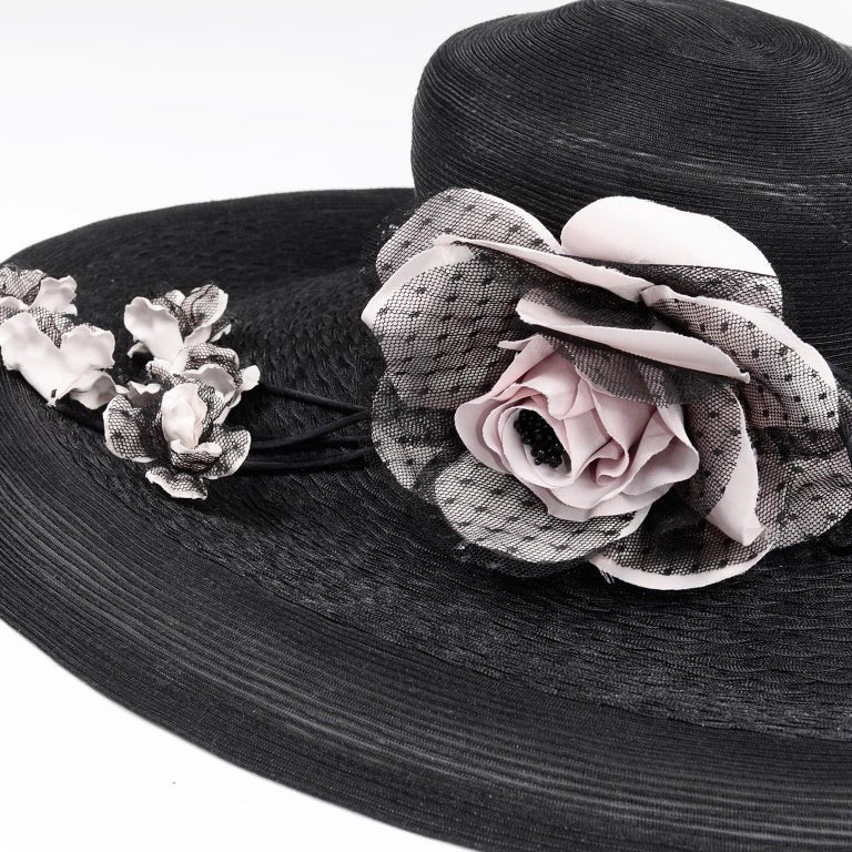 Frank Olive Neiman Marcus Vintage Black Straw Hat w/ Pink Roses & Lace  For Sale 6