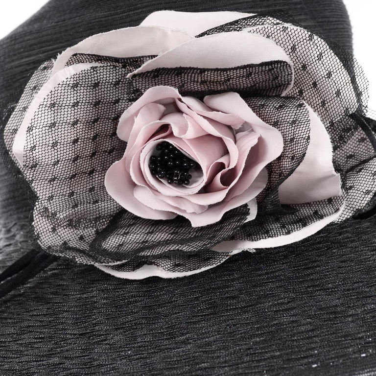 Frank Olive Neiman Marcus Vintage Black Straw Hat w/ Pink Roses & Lace  For Sale 7