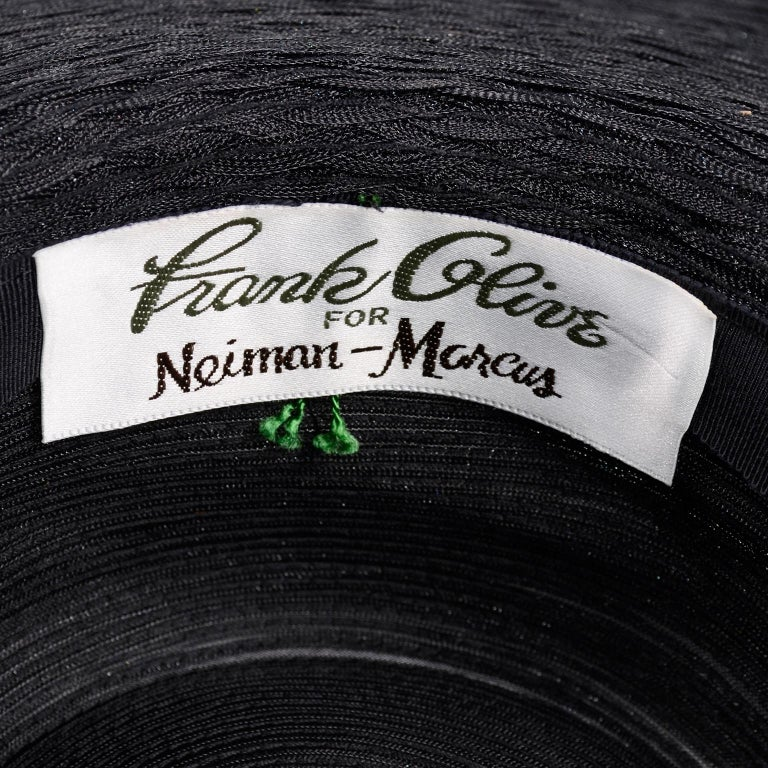 Frank Olive Neiman Marcus Vintage Black Straw Hat w/ Pink Roses & Lace  For Sale 8