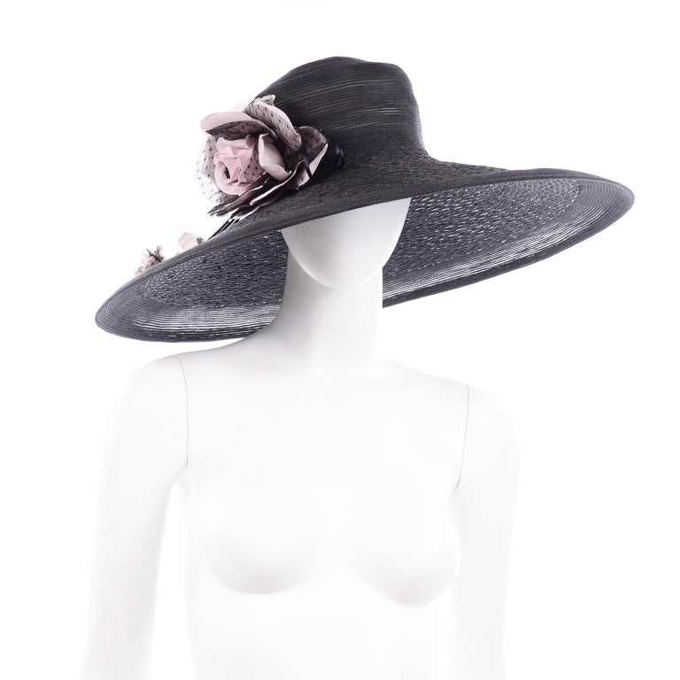 Women's Frank Olive Neiman Marcus Vintage Black Straw Hat w/ Pink Roses & Lace  For Sale