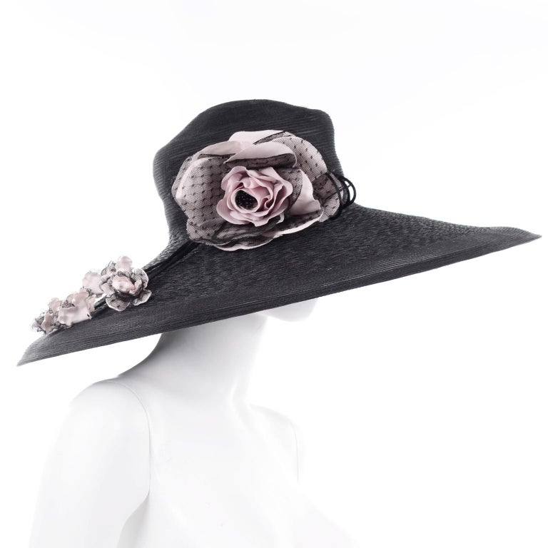Frank Olive Neiman Marcus Vintage Black Straw Hat w/ Pink Roses & Lace  For Sale 1