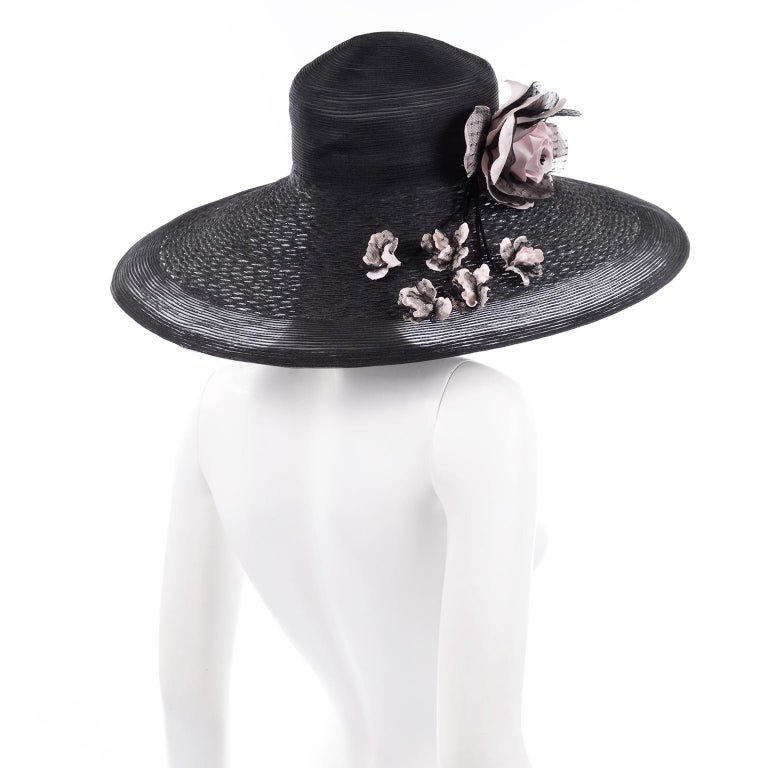 Frank Olive Neiman Marcus Vintage Black Straw Hat w/ Pink Roses & Lace  For Sale 2