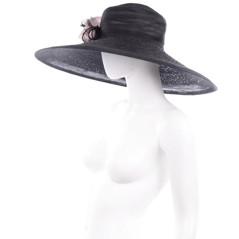 Frank Olive Neiman Marcus Vintage Black Straw Hat w/ Pink Roses & Lace  For Sale 4