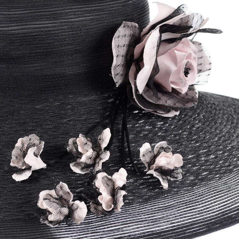 Frank Olive Neiman Marcus Vintage Black Straw Hat w/ Pink Roses & Lace  For Sale 5