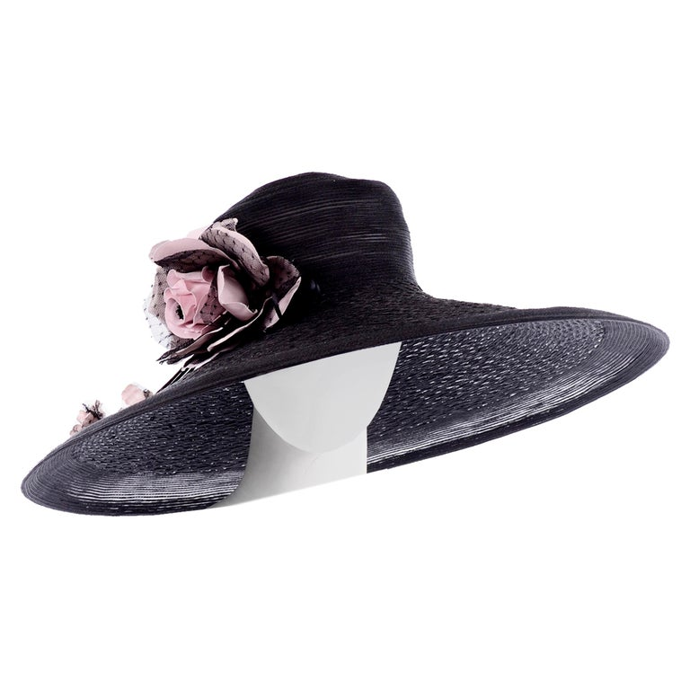Frank Olive Neiman Marcus Vintage Black Straw Hat w/ Pink Roses & Lace  For Sale