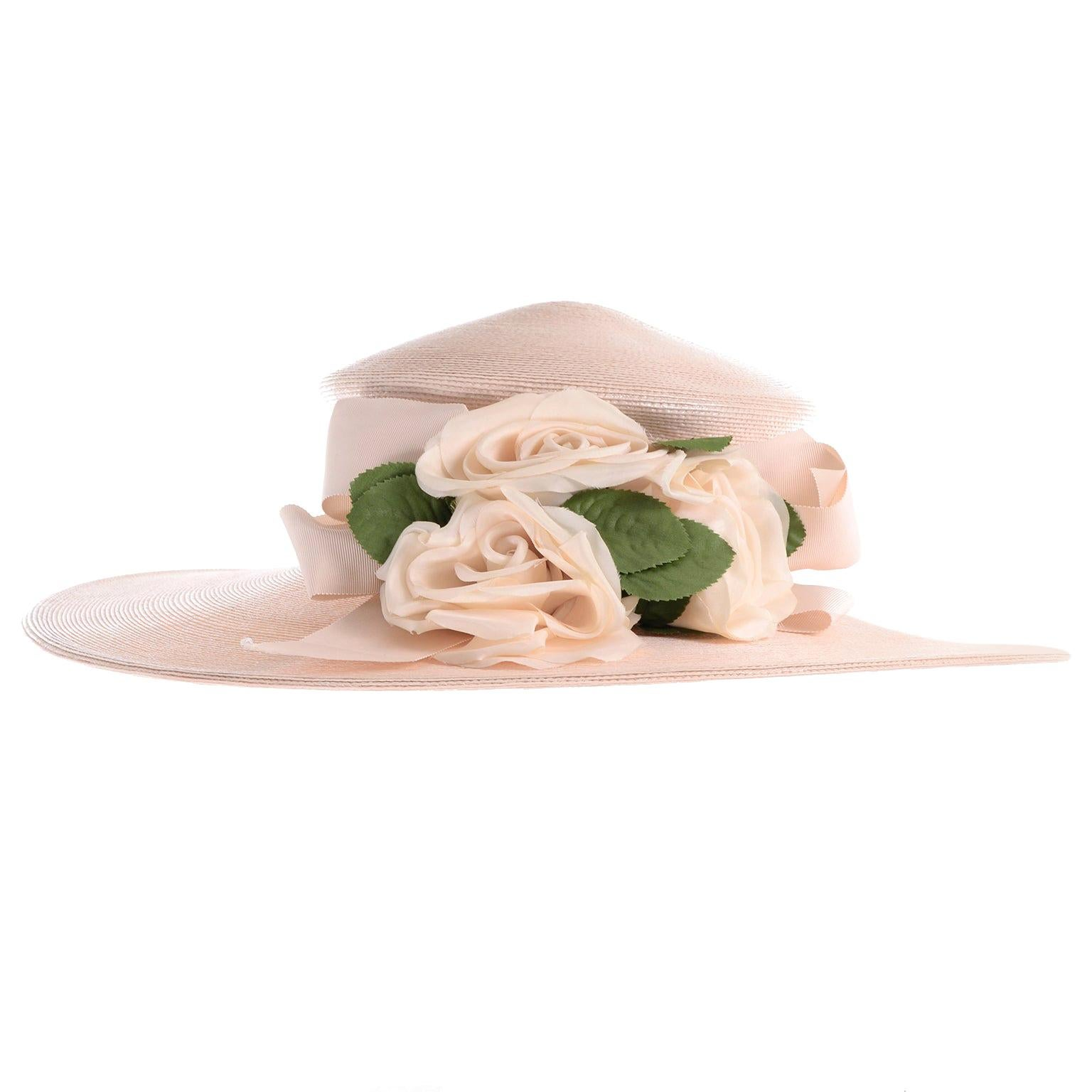 Frank Olive Vintage Cream Straw Hat With Flowers