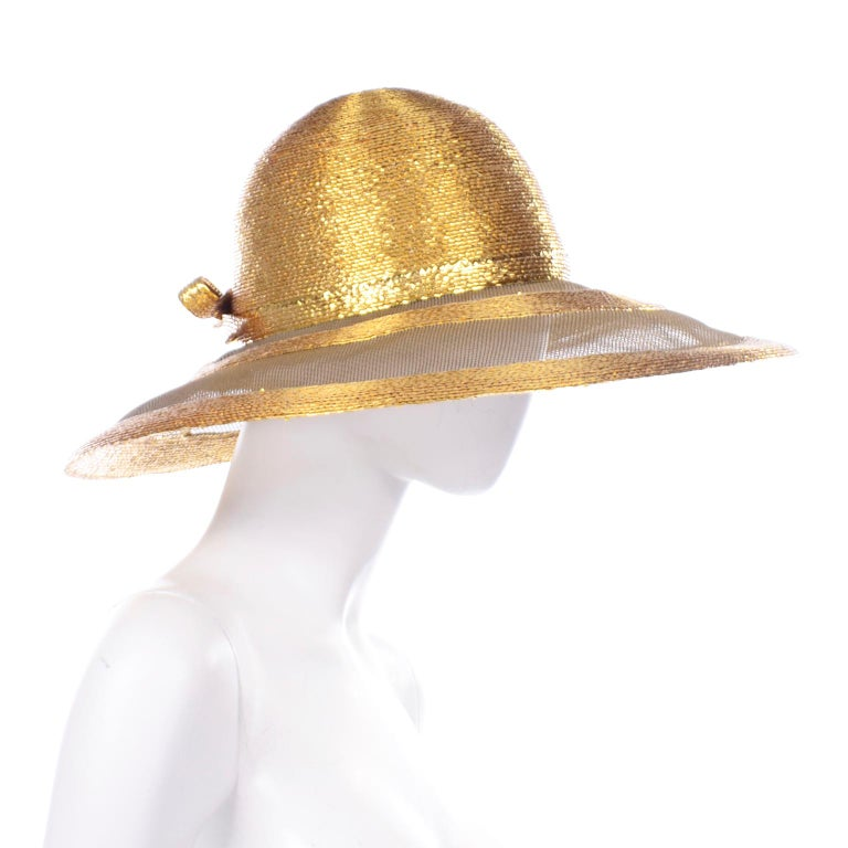 Frank Olive Vintage Gold Woven Straw & Mesh Wide Brim Hat With Bow In Excellent Condition For Sale In Portland, OR