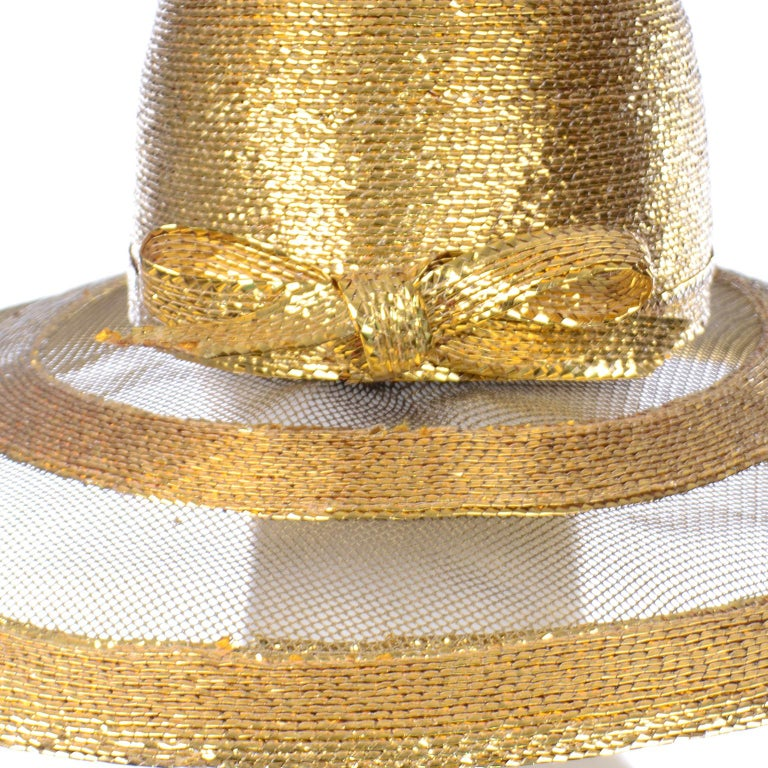 Women's Frank Olive Vintage Gold Woven Straw & Mesh Wide Brim Hat With Bow For Sale