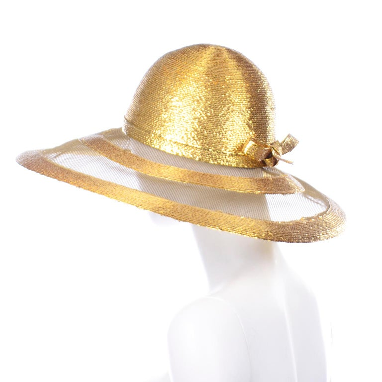 Frank Olive Vintage Gold Woven Straw & Mesh Wide Brim Hat With Bow For Sale 1