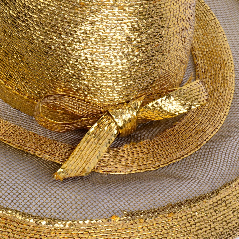Frank Olive Vintage Gold Woven Straw & Mesh Wide Brim Hat With Bow For Sale 3