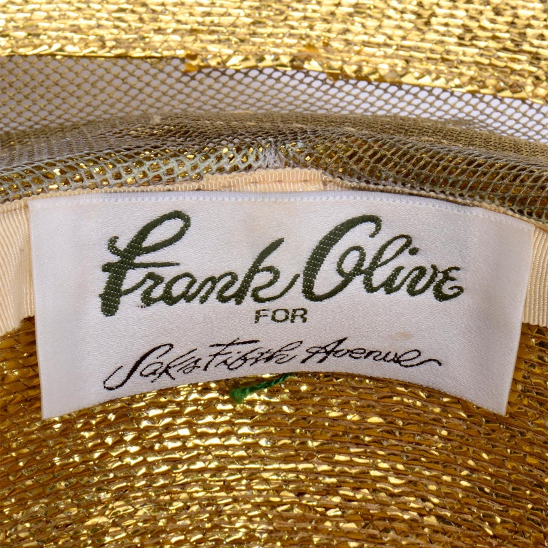 Frank Olive Vintage Gold Woven Straw & Mesh Wide Brim Hat With Bow For Sale 5
