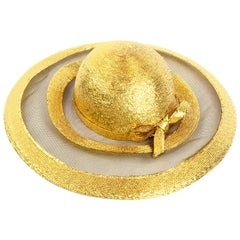 Frank Olive Vintage Gold Woven Straw & Mesh Wide Brim Hat With Bow