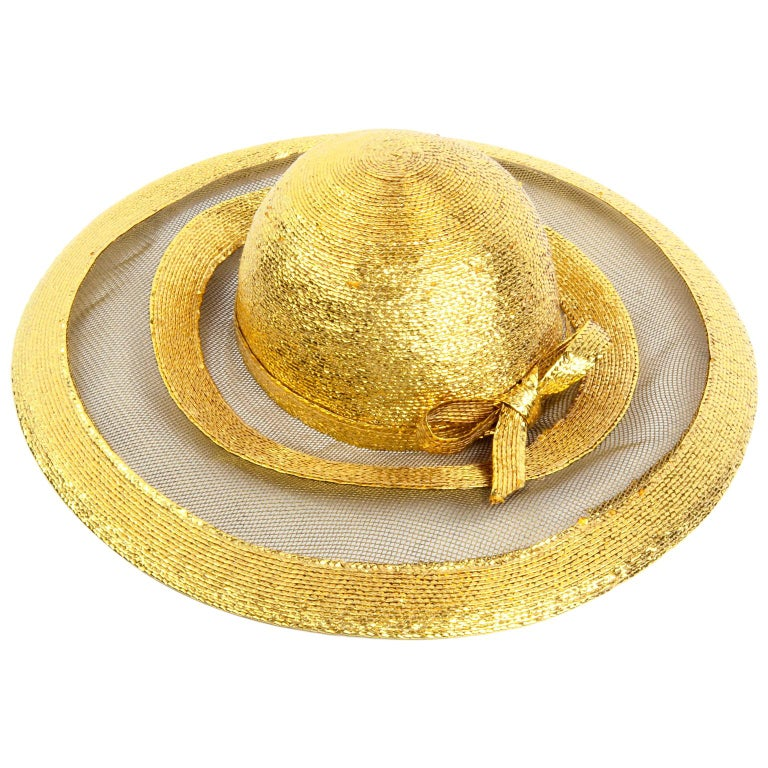 Frank Olive Vintage Gold Woven Straw & Mesh Wide Brim Hat With Bow For Sale
