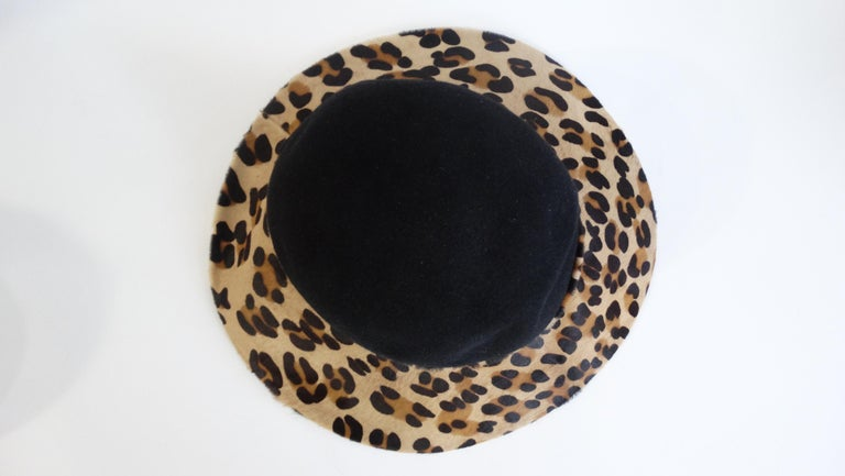 Frank Oliver Leopard Print Trim Hat  In Good Condition For Sale In Scottsdale, AZ