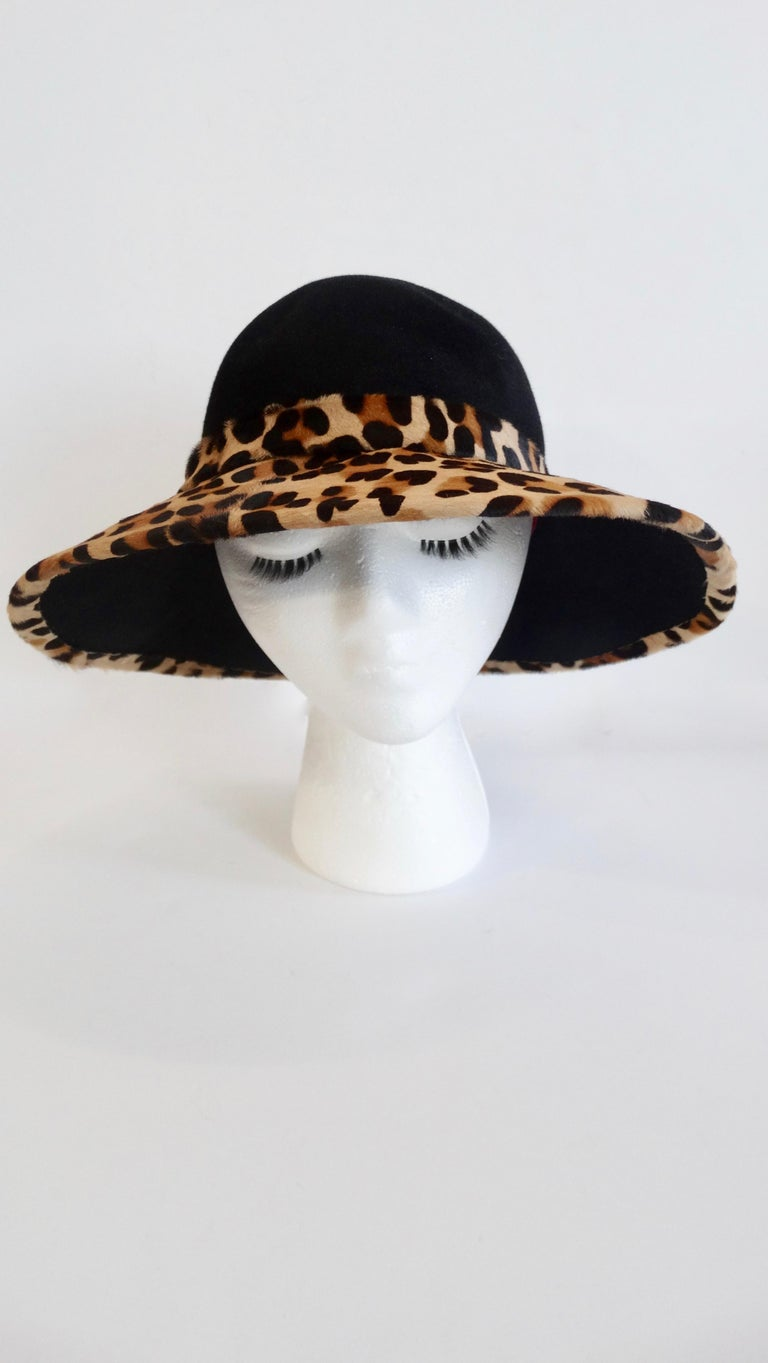Women's or Men's Frank Oliver Leopard Print Trim Hat  For Sale