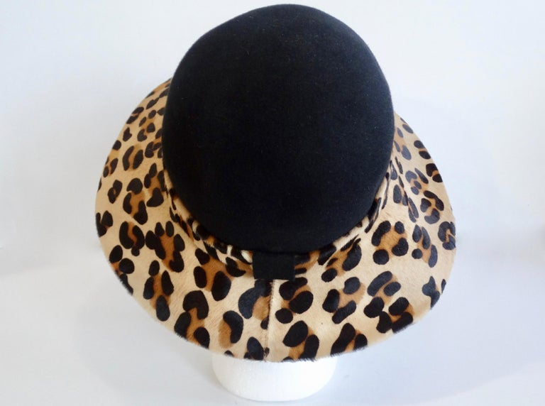Frank Oliver Leopard Print Trim Hat  For Sale 1