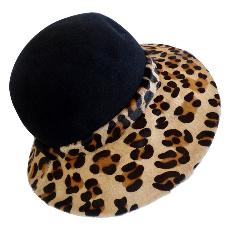 Frank Oliver Leopard Print Trim Hat  For Sale
