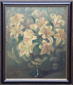 Lilies in a Vase - British 1950's art floral oil painting flower arrangement