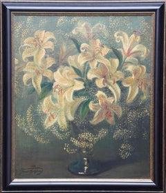Lilies in a Vase - British 1950's art floral oil painting flower arrangement