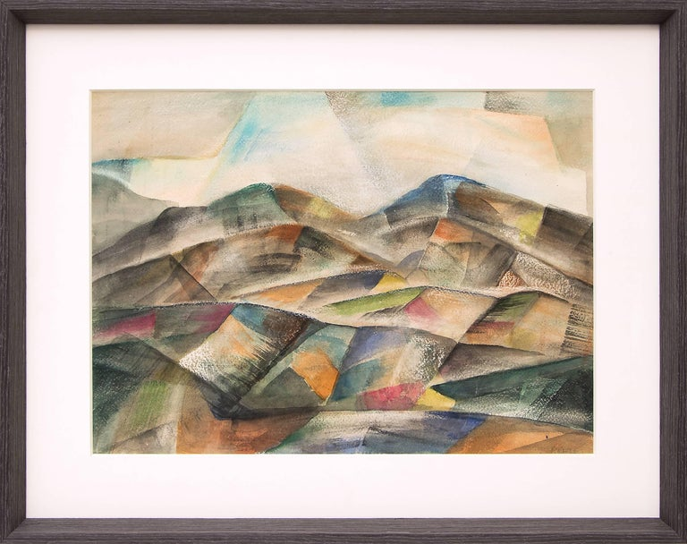 A modernist/semi-abstract landscape painting of Colorado mountains by WPA era artist, Frank Pancho Gates (1904-1998), signed by the artist, lower right. Presented in a custom frame, outer dimensions measure 24 ¾ x 12 ¾ x ¾.  Image size is 21½ x 9.