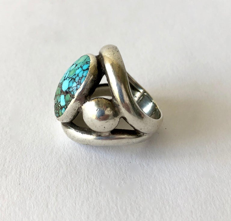 Native American Frank Patania Sr. Sterling Silver Turquoise Santa Fe Gentlemens Ring For Sale