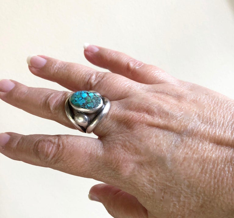 Frank Patania Sr. Sterling Silver Turquoise Santa Fe Gentlemens Ring For Sale 1