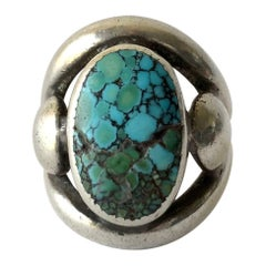 Frank Patania Sr. Sterling Silver Turquoise Santa Fe Gentlemens Ring