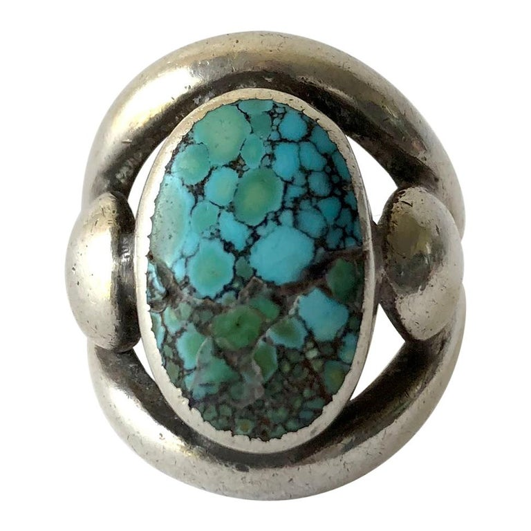 Frank Patania Sr. Sterling Silver Turquoise Santa Fe Gentlemens Ring For Sale