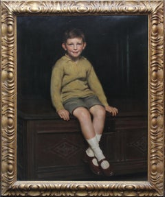 Portrait of Art Deco Boy - British 20's art realist child portrait oil painting