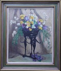 Art Deco Spring Flowers - British 1930's art floral still life oil painting