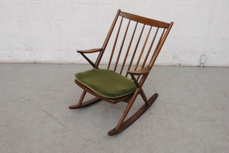 Velvet Frank Reenskaug for Bramin Møbler Danish Rocking Chair For Sale