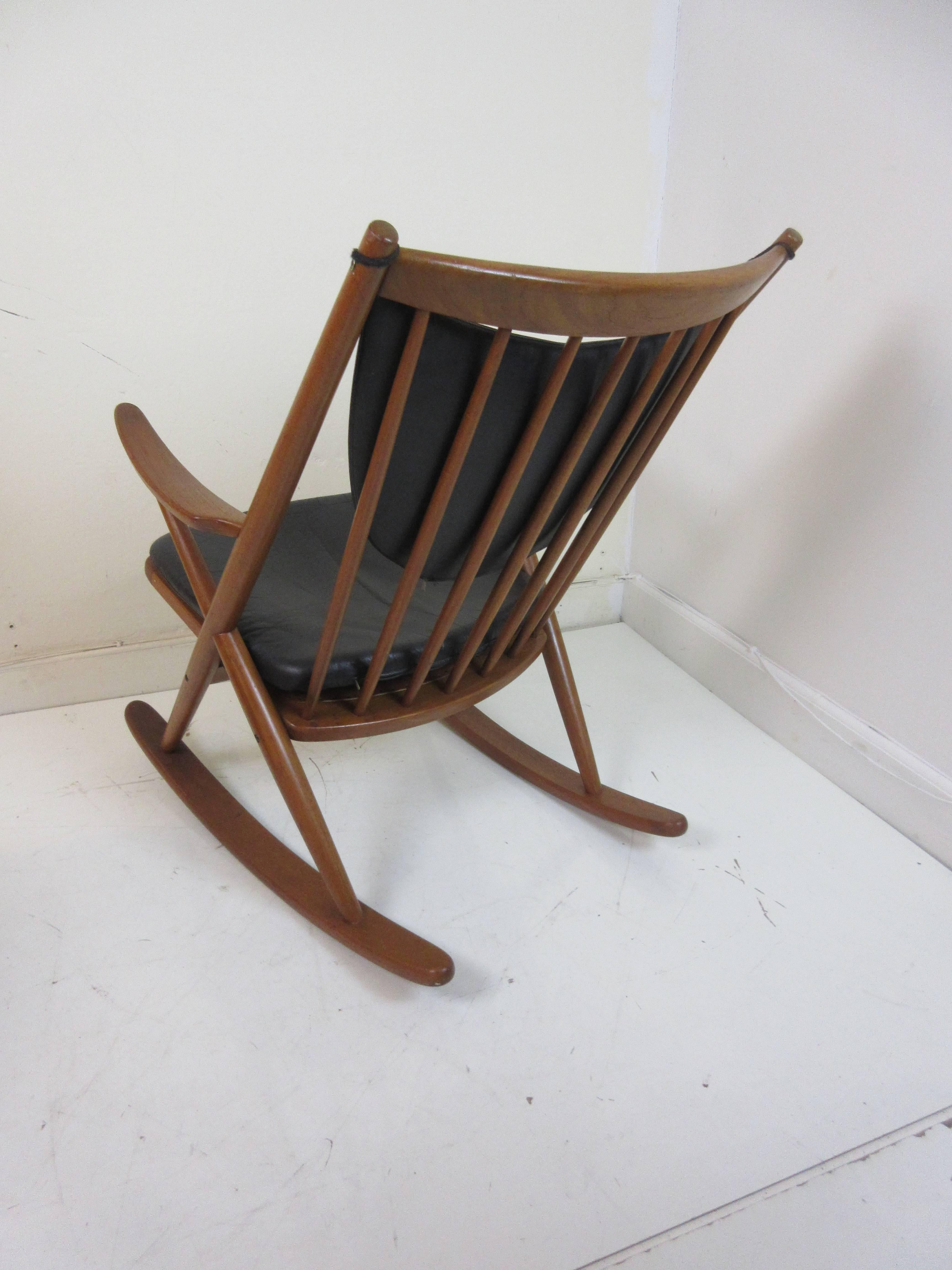 Frank Reenskaug Teak And Leather Rocking Chair By Bramin Mobler Denmark.  All Original And In