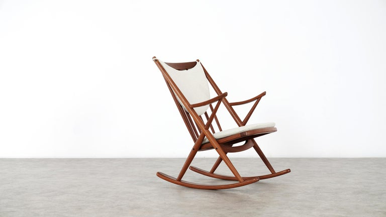 Danish modern teak rocking chair by Frank Reenskaug for Bramin Møbler