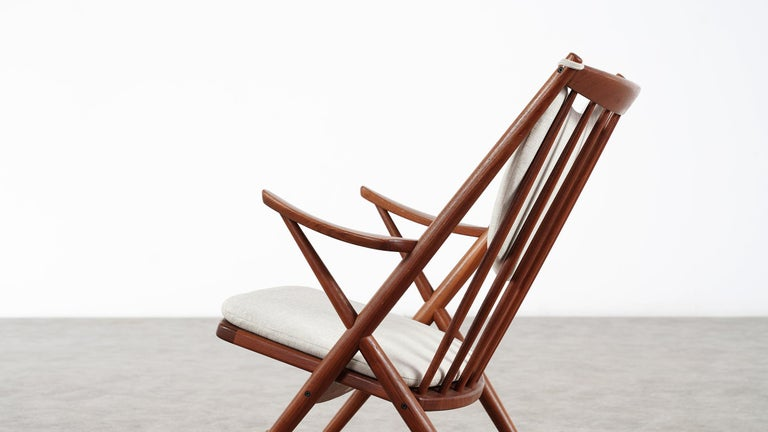Hand-Crafted Frank Reenskaug, Teak Rocking Chair 1962 for Bramin, Denmark, Lounge Chair For Sale