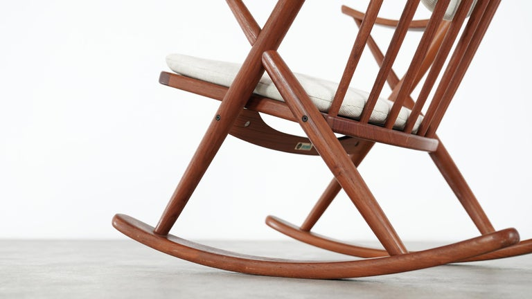 Frank Reenskaug, Teak Rocking Chair 1962 for Bramin, Denmark, Lounge Chair In Good Condition For Sale In Munster, NRW