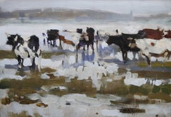 Paddling Cows at Hayle - British Impressionist oil painting Newlyn school