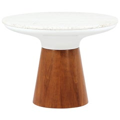 Frank Rohloff Tulip Side Table with Travertine Top for Brown Saltman