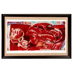 Frank Romero Signed Serigraph Limited Edition #20/90, Red Car