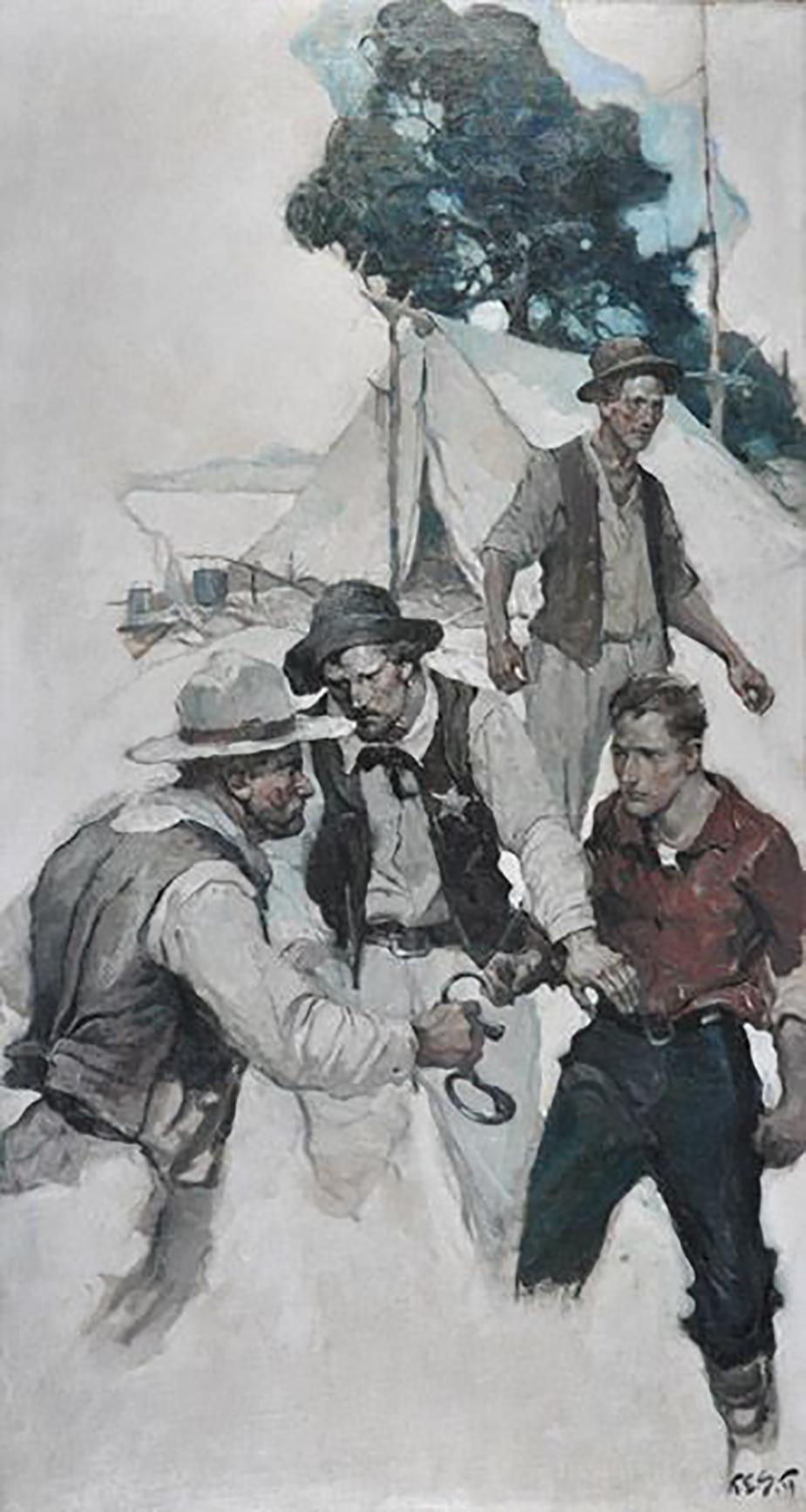 """""""The Rustlers of Silver River,"""" Story Illustration for Country Gentleman"""