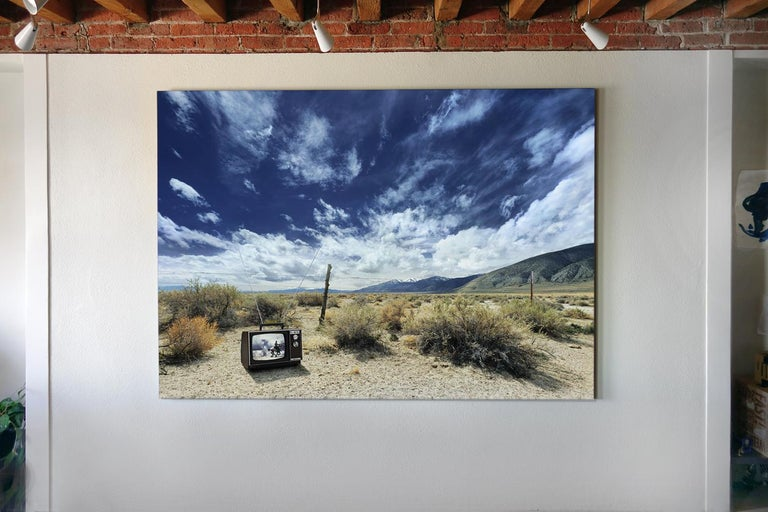 Cowboy TV - large format photograph of iconic western in American landscape - Gray Landscape Photograph by Frank Schott