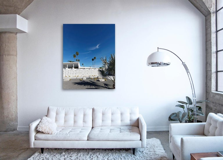 Palm Springs ( White ) - a study of iconic mid century desert architecture  - Blue Color Photograph by Frank Schott
